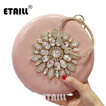 ETAILL Women Summer Round Clutch Bag Flowers Diamonds Evening Bag Crossbody Bags For Women Party Wedding Day Clutches Purse цена и фото