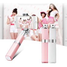 New Style Lipstick Selfie Stick Wired Extendable Monopod with 5 Sections Aluminum Alloy Tube for  Samsung S7 eals CX88