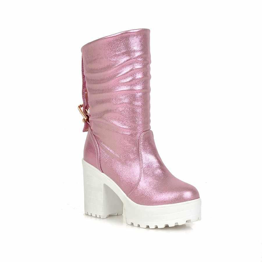 New nhãn hiệu 2018 mùa xuân mùa thu phụ nữ khởi động platform cao gót gót dày gót giày thường phụ nữ chất lượng tốt