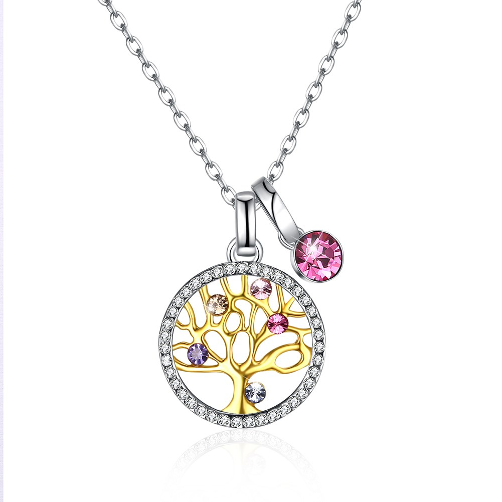 Ufooro Charm Pink crystals from swarovski S925sterling silver multiple daphne tree crystal pendant necklace For Woman Engagement