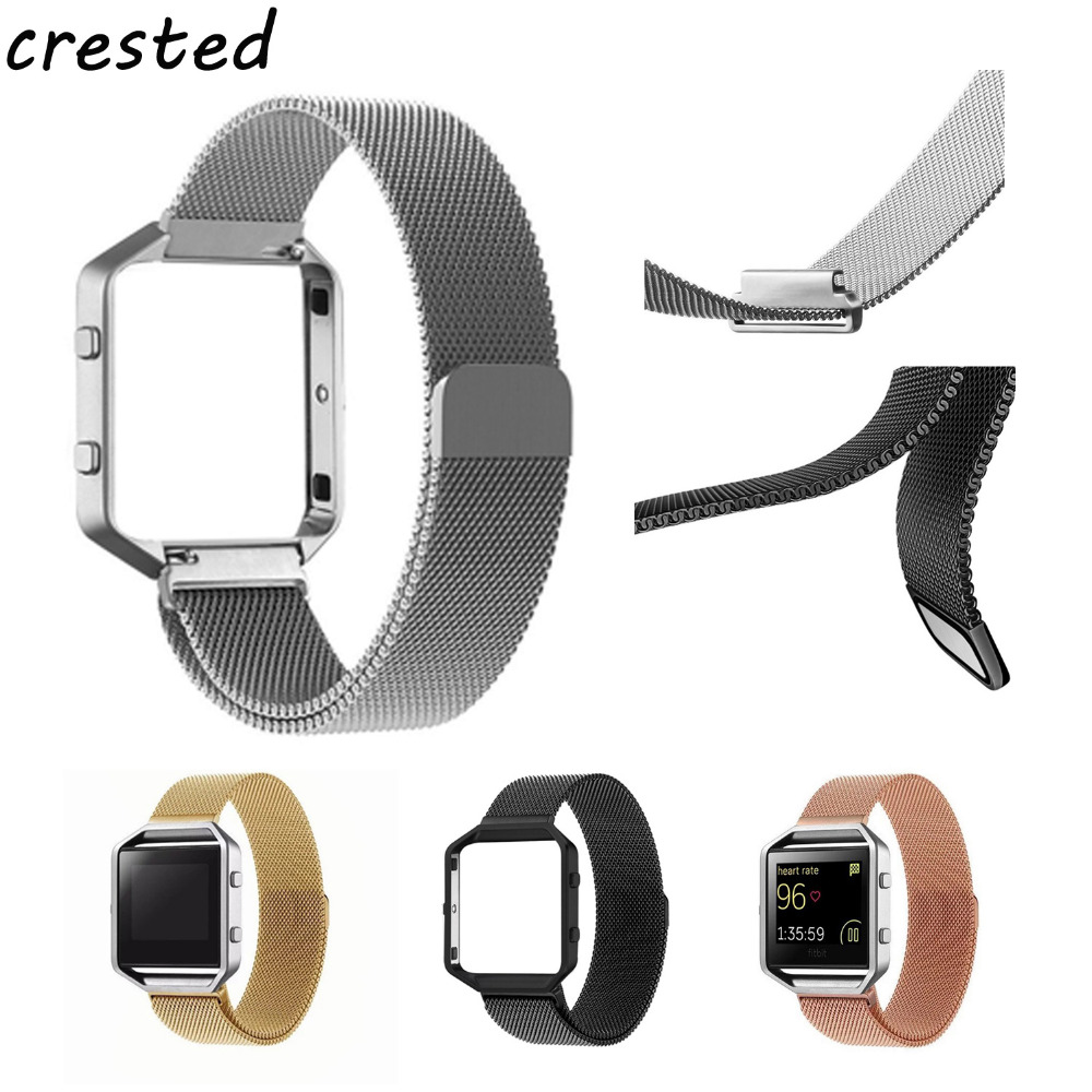 CRESTED Milanese Loop Strap + Metal Frame for Fitbit Blaze Stainless Steel Watch Band Magnetic Lock Wristwatch Bracelet crested luxury magnetic milanese loop wrist strap