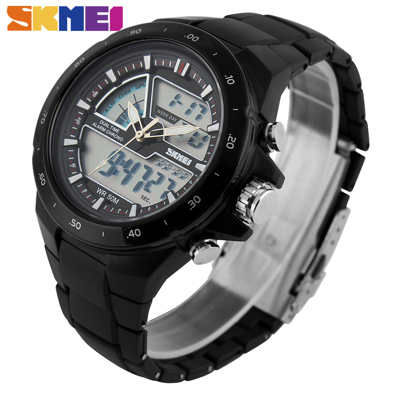 SKMEI Men Sports Watches Fashion Casual Men's Watch Digital Analog Alarm 30M Waterproof Military Multifunctional Wristwatches цена 2017