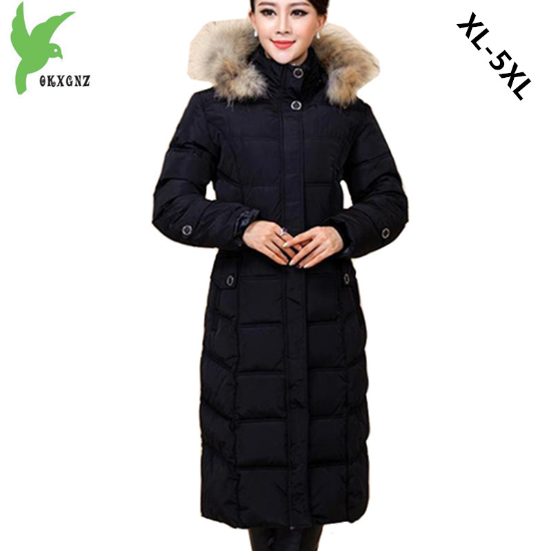 Middle-aged Women Down cotton Jacket Coat Winter Warm Parkas Lengthen Style Hooded Jacket Plus size Fur collar Slim Coats OKXGNZ middle aged women winter cotton jackets thick warm parkas plus size mother cotton coats hooded fur collar outerwear okxgnz a1238