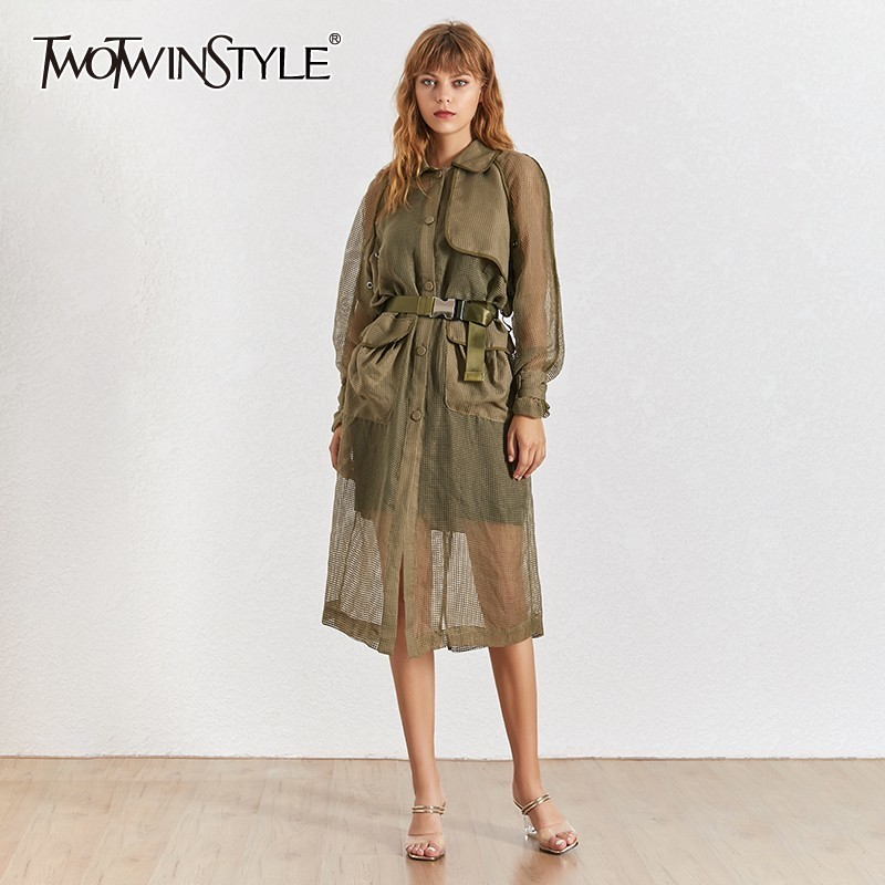 TWOTWINSTYLE Summer Elegant Solid Women Coat Lapel Half Sleeve Button Sashes High Waist Long Female Windbreaker