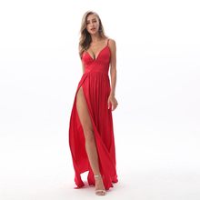 2019 Sexy Deep V Neck Backless Maxi Dress 2 High Splits Dress Red Satin Floor Length Open Back Night Club Evening Party Dress
