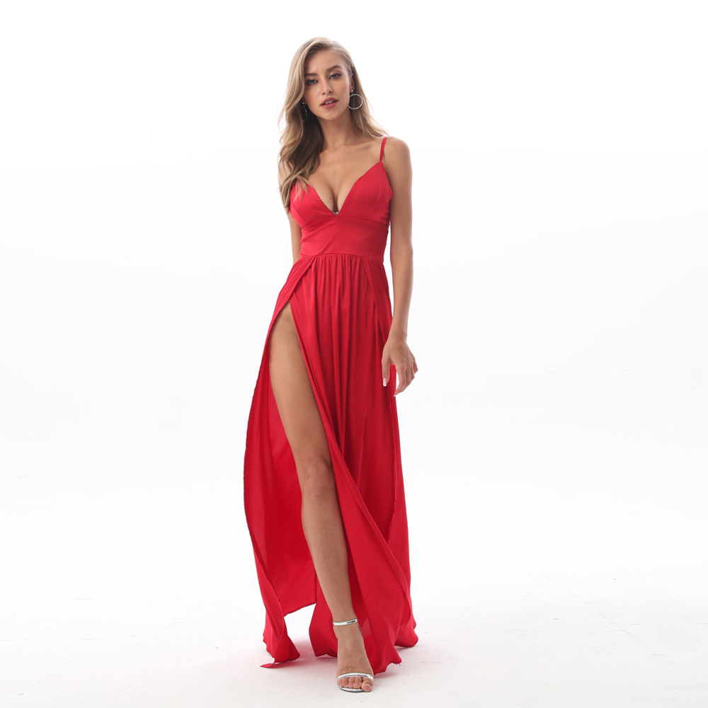 2019 <font><b>Sexy</b></font> Deep V Neck Backless Maxi <font><b>Dress</b></font> 2 High Splits <font><b>Dress</b></font> <font><b>Red</b></font> Satin Floor Length Open Back Night Club Party <font><b>Dress</b></font> image