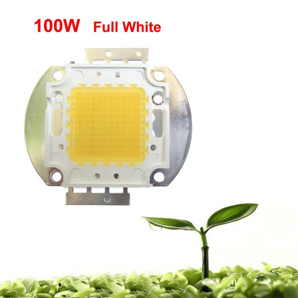1pcs 100W Watt White Full Spectrum 380~780nm 45mil 900LM 30V-36V 3000-3500mA SMD LED Part Diodes For Plant Grow Light