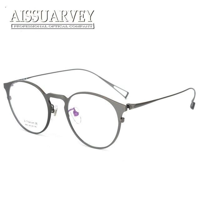 e44715f47294 Pure Titanium Eyeglasses Frame Men Women Optical Round Ultra-light Glasses  Prescription Brand Design Eyewear Top Quality Goggles