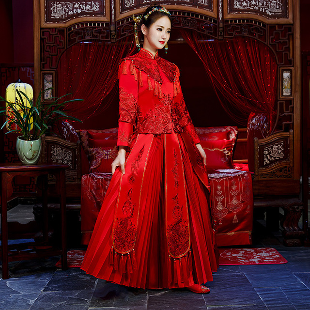 Elegant Wedding Qipao Oriental Bride Dress/Vintage Cheongsam Suit