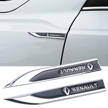 2pcs 3D metal Renault Car Fender side Emblem Badge Decal Sticker for Megane Latitude Vel Satis captur FRENDZY CLIO koleos