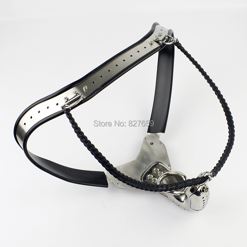 Male Chastity Belt Model-Y Adjustable Curve Waist Belt Stainless Steel Chastity Cage Sex Toys For Men Penis Restraint Device