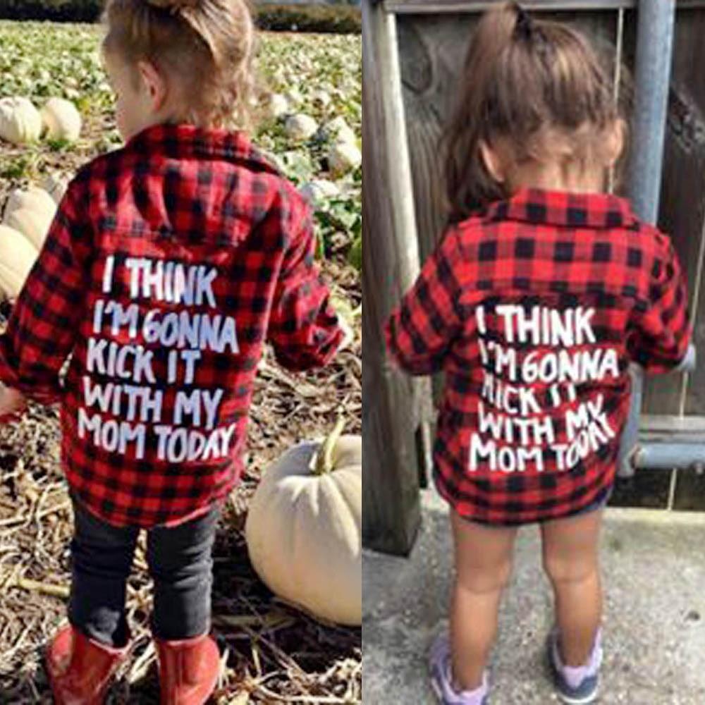 5c2a615b0b7b 2018 Spring Baby Boys Girls Long Sleeve Shirt Plaids Red Black Checks Tops  Blouse Cotton Clothes