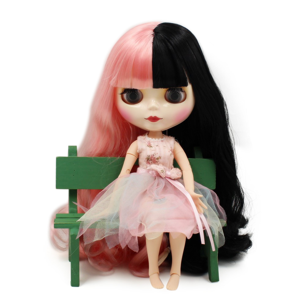 factory blyth doll 1 6 bjd white skin joint body BL1010 117 pink and black hair