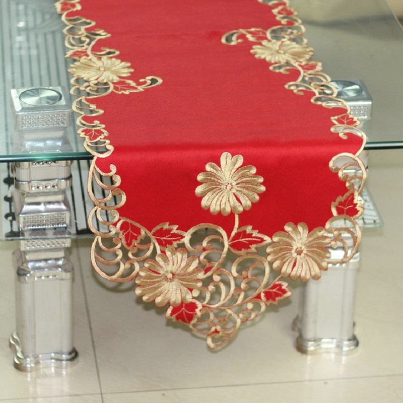Lunxry Table Runner Solid Embroidered Table Runner Red Table Mat Pillow  Case Table Runners For Wedding