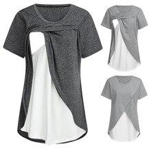 Женская одежда для беременных с коротким рукавом, удобный многослойный топ для кормления, футболка для грудного вскармливания, футболка allaitement camiseta lactancia