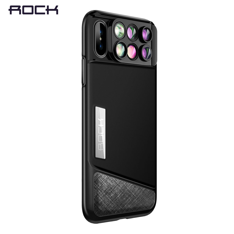 ROCK Professional Camera Lens Phone Case for iPhone X,Telephoto/ Wide Angle/ Macro/ Fisheye Lens 6 in 1 for iPhone X Lens Case