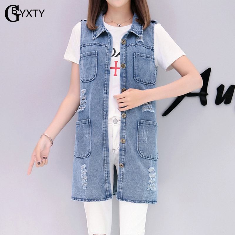 gbyxty veste sans manche femme women 39 s denim vests 2019 spring summer ripped long jeans