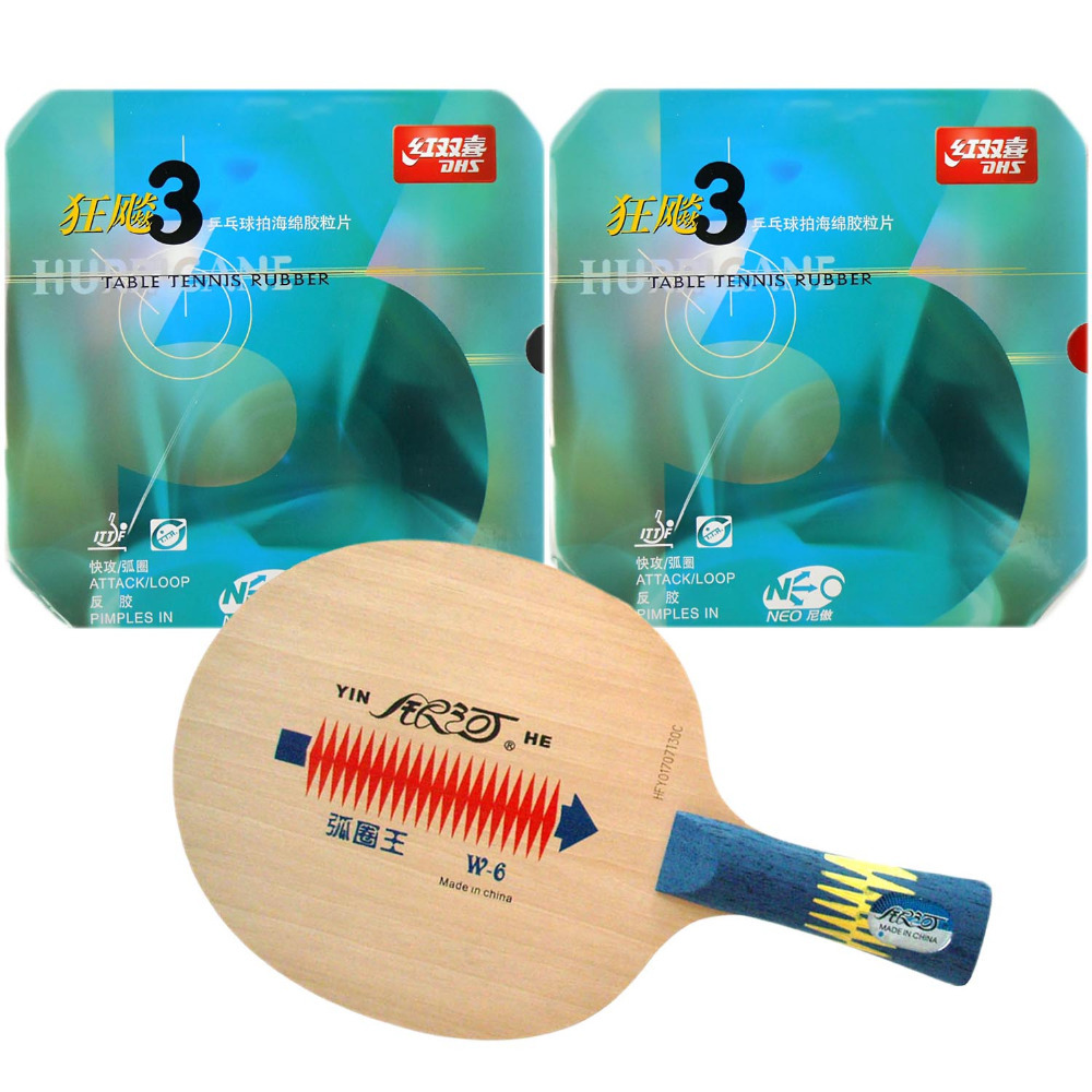 Original Pro Table Tennis PingPong Combo Racket Galaxy Yinhe W-6 with 2x DHS NEO Hurricane 3 Rubbers Shakehand Long Handle FL