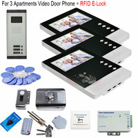 For 3 Apartments Video Doorphone & Doorbell Intercom System Night Vision Weatherproof+RFID Electronic lock In Stock!