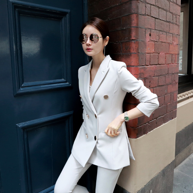Fashion Spring and Autumn models Ms OL ladies wind temperament suit jacket micro pull nine pants