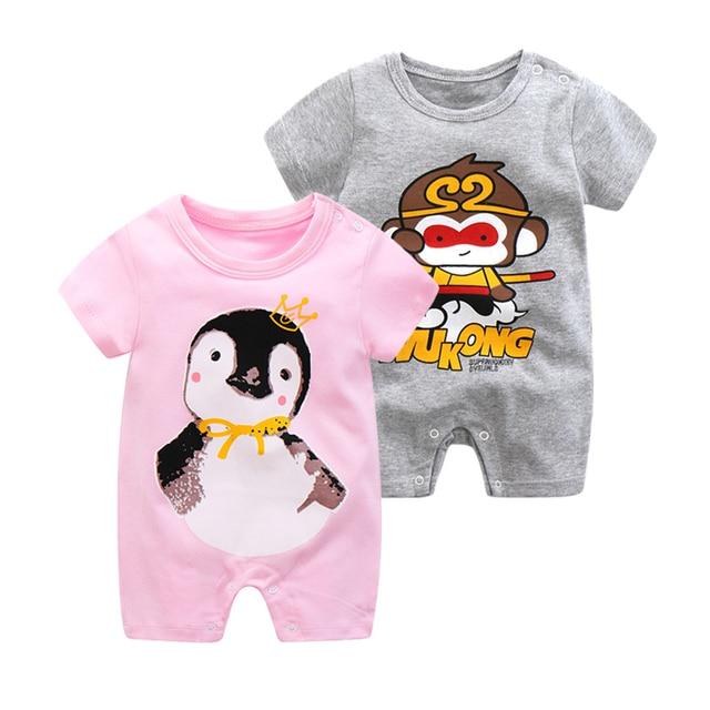 Lato w nowym stylu krótki rękaw dziewczyny sukienka dziecko Romper bawełna noworodka kombinezon dla dzieci piżamy chłopcy zwierząt małpa pajacyki 2020 hot