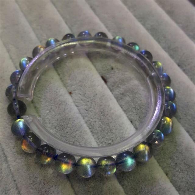 Mujeres Mujer 6mm Preciosas Genuinas Labradorita Natural de Hielo Luces de Arco Iris Transparente de Cristal Pulsera del Estiramiento del Grano Redondo