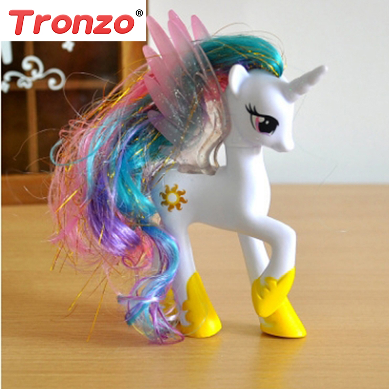 Tronzo 1Pcs 14CM Unicorn Doll Girl Cartoon Unicorn Doll PVC Horse Action Toy Figures Toy Doll For Kids Birthday Gift Wholesale 16pcs set 4 6cm little pvc action toy figures horse princess celestia christmas gift for kids toys