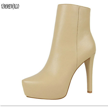 UMMEWALO Ankle Length Boots Women Fashion Pointed Toe PU Leather High Heel Shoes Winter Ankle Boots Ladies Shoes 9657-5