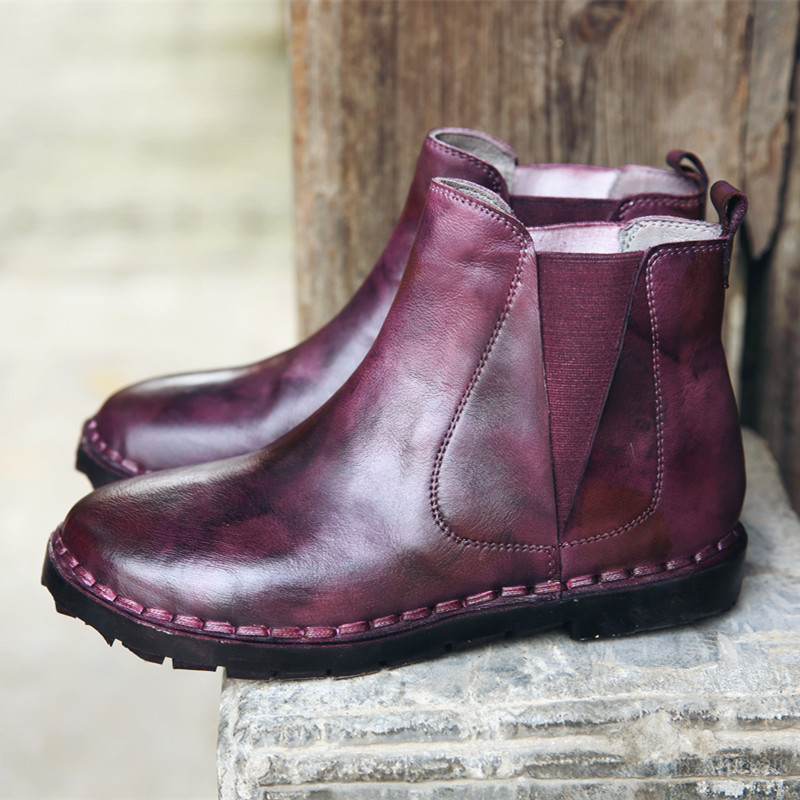 ФОТО Zhuo ya head layer cowhide handmade Sen female retro soft and comfortable with low head sleeve Chelsea boots