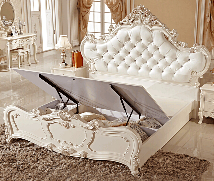 Hot Sale Furniture, White Modern Leather Bed ,Latest Design Bedroom  Furniture