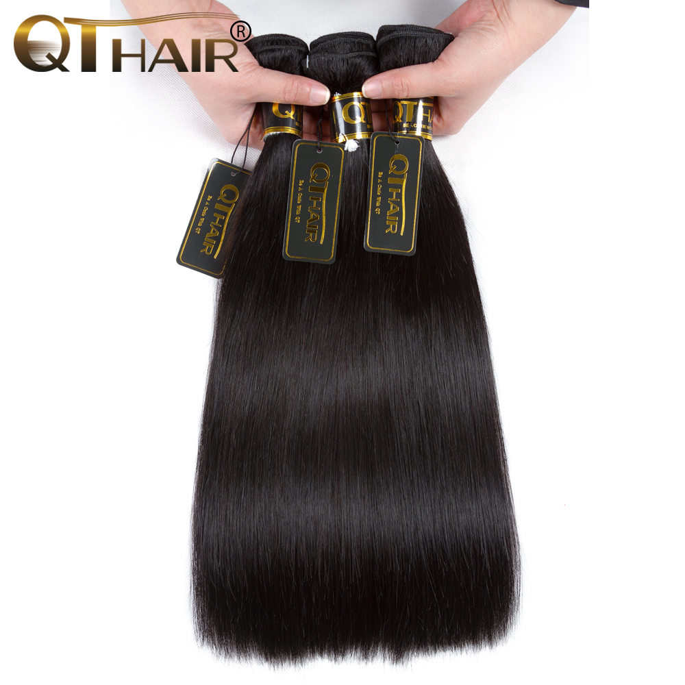 QT Hair Peruvian Straight Hair Weave 3 Bundles 100 Human Hair Weave Non remy Black Color