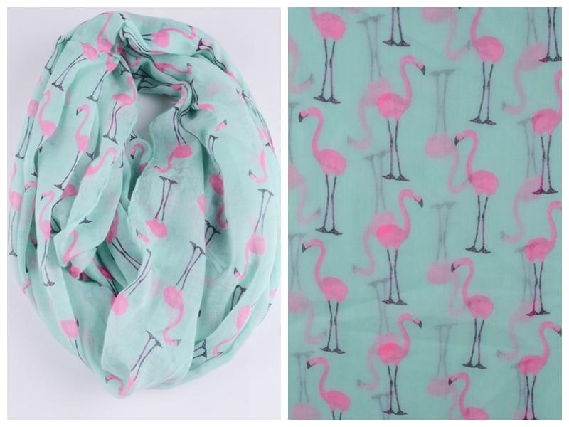 Foxmother الأزياء خفيفة لينة النساء النعناع الأخضر الأبيض فلامنغو بجعة الطيور طباعة دائرة الأوشحة foulards سنود للسيدات