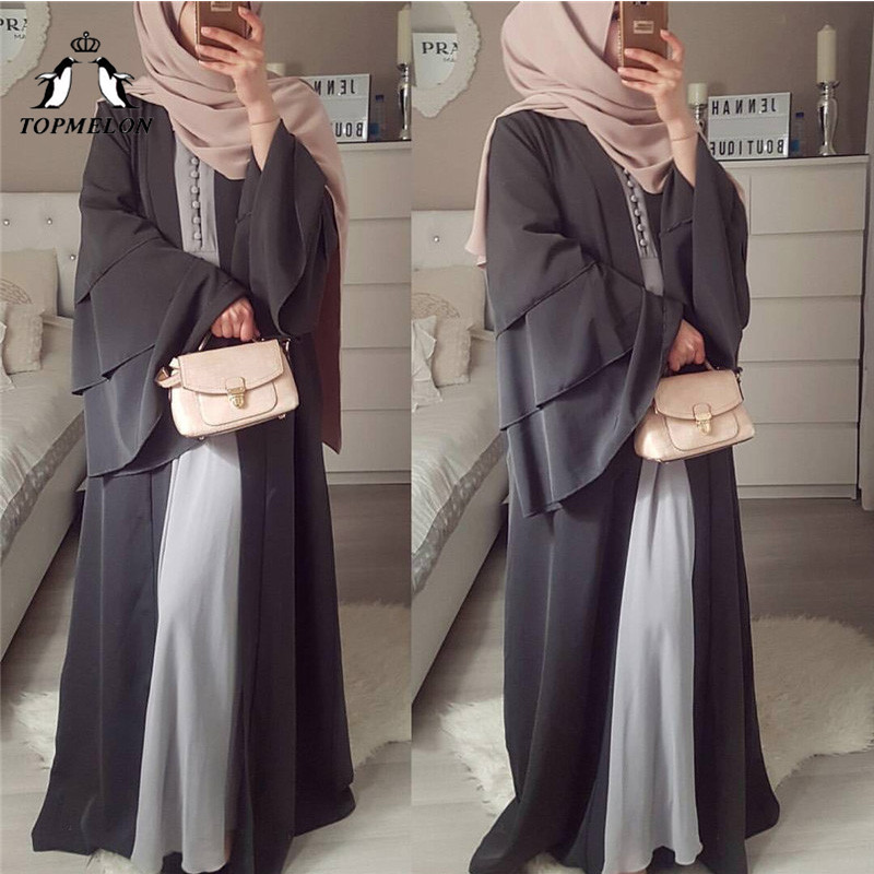 TOPMELON Chiffon Muslim Dress Womens Open Abaya Long Trumpet Sleev Hijab dress Elegant New Fashion Robes for Dubai Women
