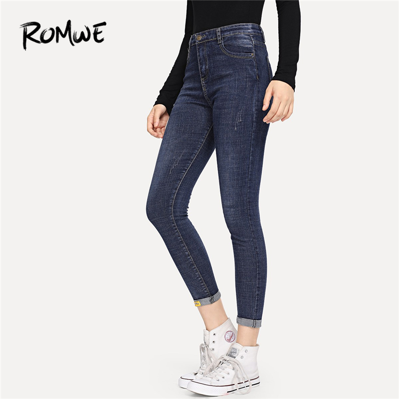 ROMWE Blue Rolled Hem Skinny Jeans Women Casual Denim Pants Autumn Plain Female Zipper Fly Mid Waist Tapered Carrot Trousers