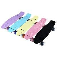 Outlife 5色22インチミニクルーザーバナナスタイルロングボードパステルカラー魚スケートボードでled点滅車輪