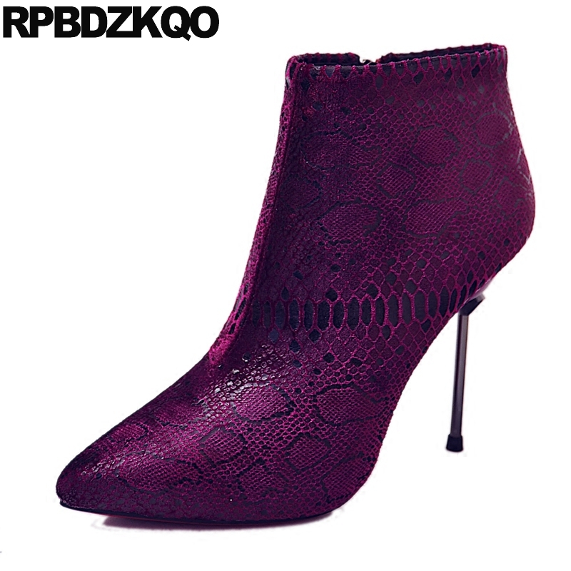 Ladies Fur High Heel Pointed Toe Thin Wine Red Short Snakeskin Stiletto Metal Boots Booties Ankle Sexy 2017 Shoes Female New