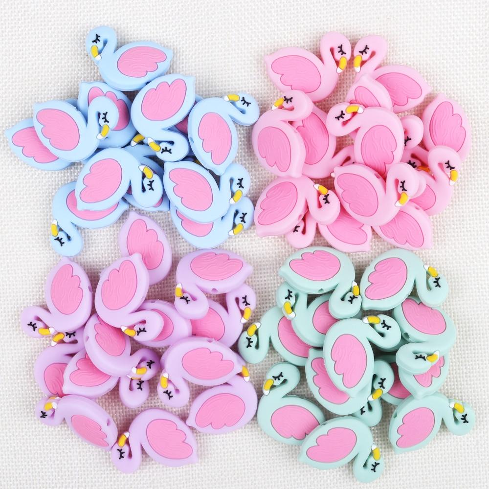 TYRY HU 100pc Flamingo Silicone Beads Baby Teething Rings Making Food Grade Silicone Chew Teethers Teething