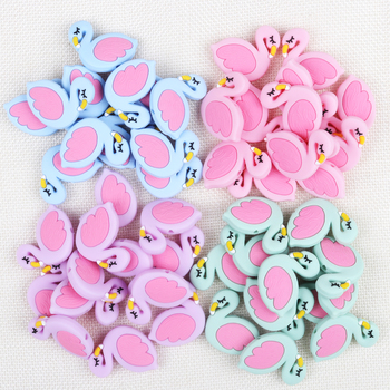 TYRY.HU 100pc Flamingo Silicone Beads Baby Teething Rings Making Food Grade Silicone Chew Teethers Teething Toys Accessories