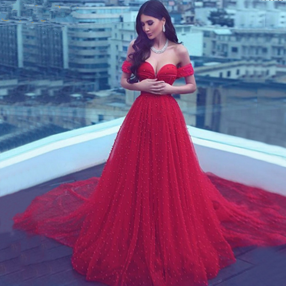 Charming Pearls Red   Cocktail     Dresses   2019 Long Off Shoulder Evening Gowns Lace-Up Elegant Formal Cheap   Dress