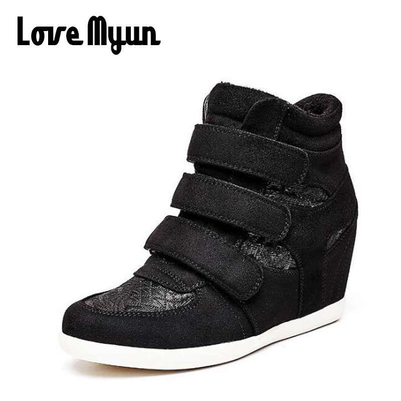 88e0338d92c3 Woman Sneakers Casual Wedge flat Platform Shoes Breathable Ankle BootS  Black Women high top Height Increasing