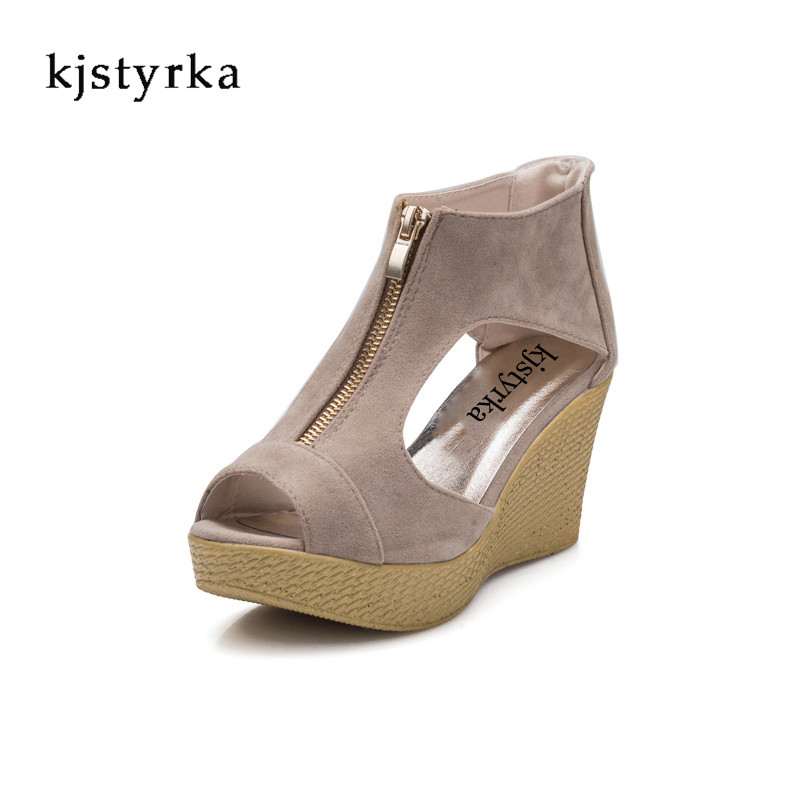 Kjstyrka Women Fashion Flower Summer Sandals Wedges Flip Flops Platform Slippers Shoes slippers zapatillas chinelo sandalia