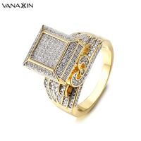 VANAXIN Hip Hop Rings For Men Iced Out Bling Bling Rings AAA Cubic Zirconia Jewelry Gold