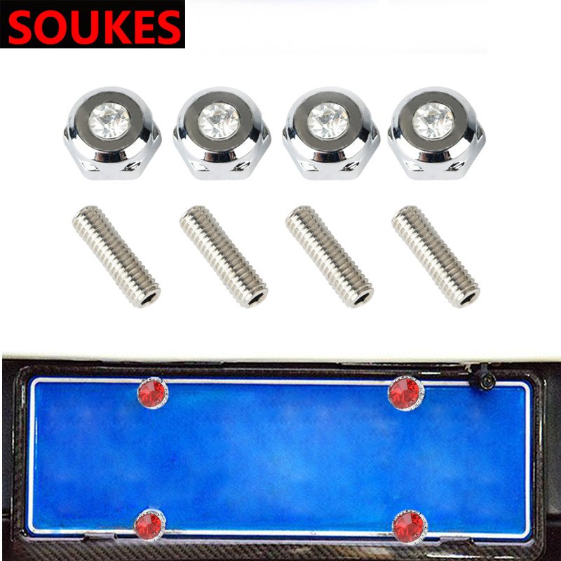 4pcs Car Grill License Plate Bolts Frame <font><b>Chrome</b></font> Screws For <font><b>Peugeot</b></font> 307 206 308 407 207 2008 3008 508 406 <font><b>208</b></font> Mazda 3 6 CX-5 CX7 image