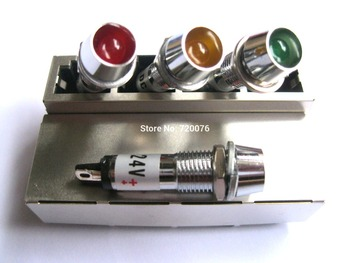 10 pcs New LED Indicator Signal light Red/Yellow/Green Color DC 24V Opening hole size 8 mm for switch etc фото