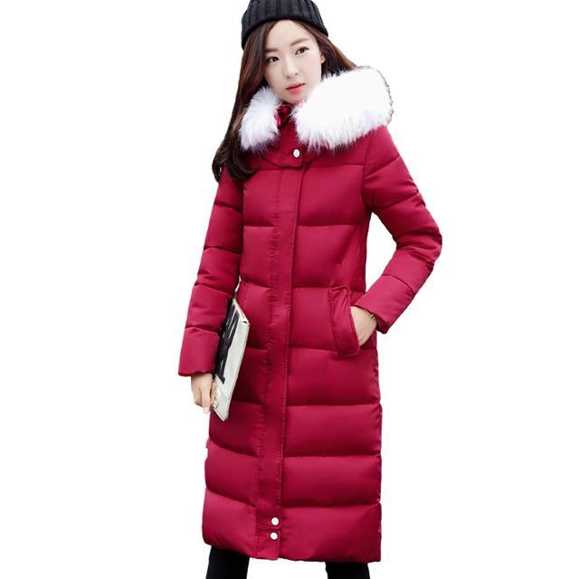 Inverno Para Baixo casaco com capuz feminino versão Coreana grandes estaleiros casaco de pele gola da jaqueta Casaco Parka grosso na altura do joelho quente