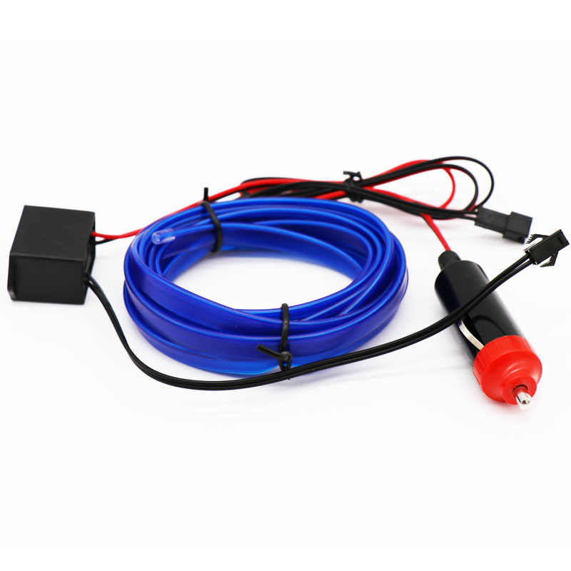 Luces LED frías para coche de 2m, 3m, 5m, 12V, cable de neón Flexible, luces automáticas para EL coche, tiras de luces frías para decoración Interior, tira de luces