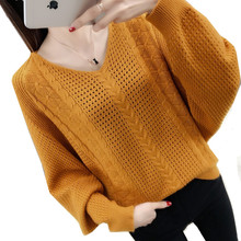 2019 Spring Autumn V-Neck Sweaters Women Batwing sleeve Soli