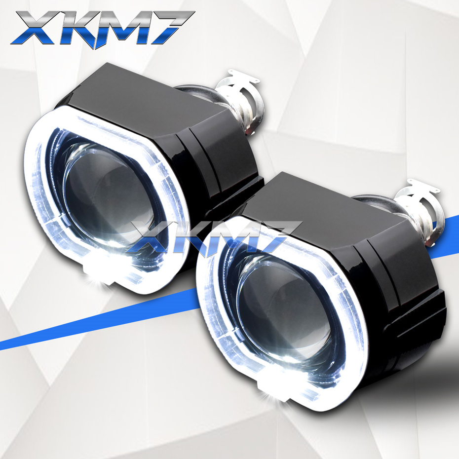 2.5 Headlight Lenses LED Running Lights Square Sport Angel Eyes Halo Bi Xenon Lens HID Projectors Black Shrouds Car Motorcycle