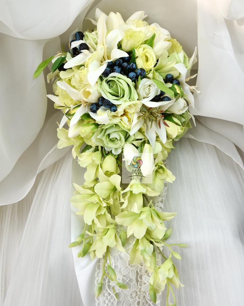 Waterfall style handmade wedding bridal bouquet green artificial waterfall style handmade wedding bridal bouquet green artificial flowers bride hand holding flower bridesmaid bouquets decor in artificial dried flowers izmirmasajfo