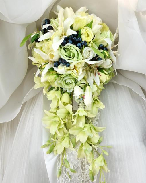Waterfall Style Handmade Wedding Bridal Bouquet Green Artificial ...